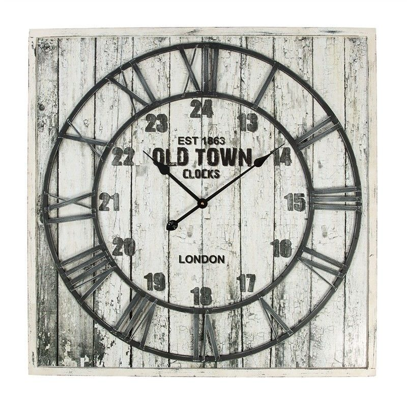 Wooden 80cm Square Wall Clock with Metal Clock Dial - Distressed White