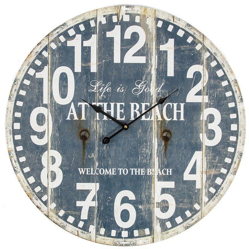 Beach Wood Stripe Round Wall Clock