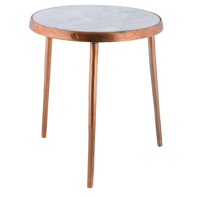 Annora Stone Top Aluminium Round Side Table Small Raw Copper