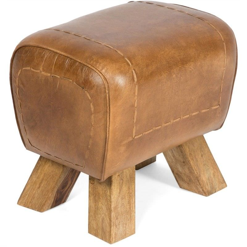 Coco Solid Timber Ottoman Stool with Upholstered Leather Seat, Tan
