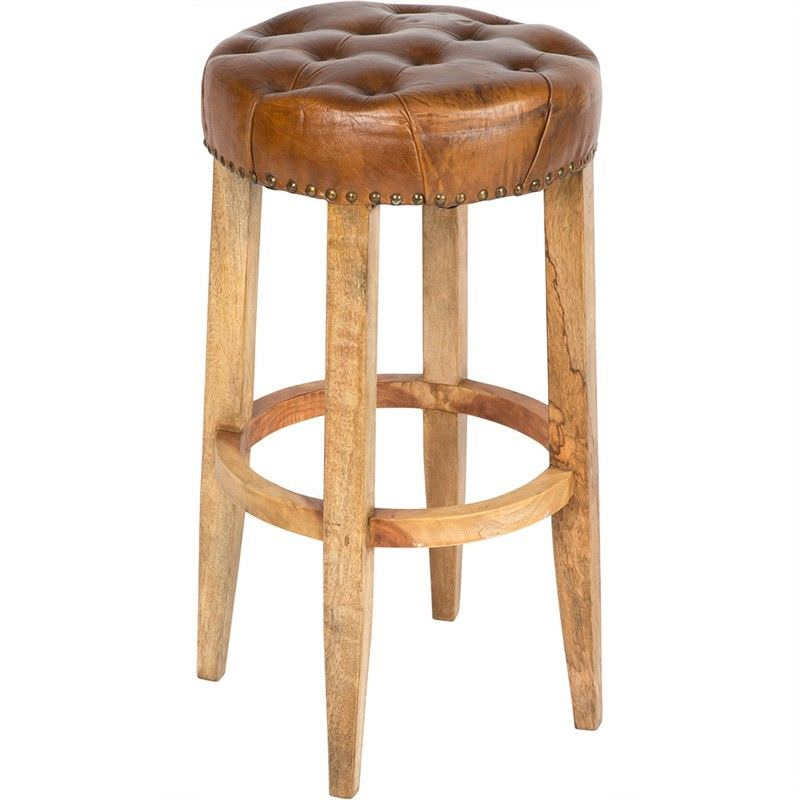Manhattan Solid Timber Bar Stool with Tufted Leather Seat, Tan