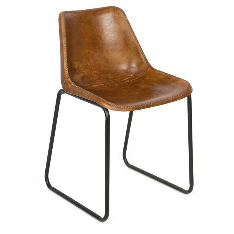 Fabio Aged Leather Sled Leg Dining Chair, Tan