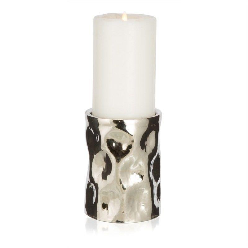 Otara Small Aluminium Round Pillar Candle Holder - Silver