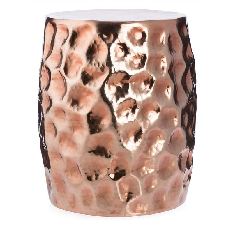 Otara Aluminium Decorative Drum Stool,  Copper