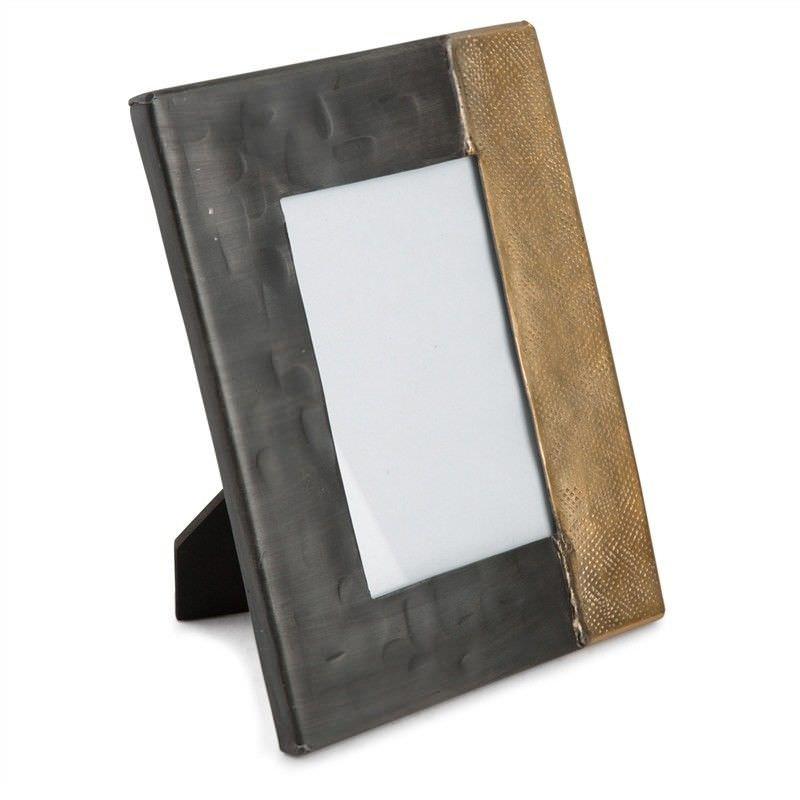 Rosario Welding Aluminium Rectangular Photo Frame, Small, Graphite/Gold