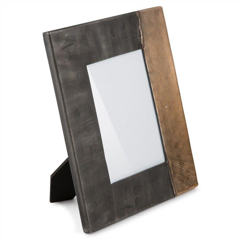 Rosario Welding Aluminium Rectangular Photo Frame, Large, Graphite/Gold