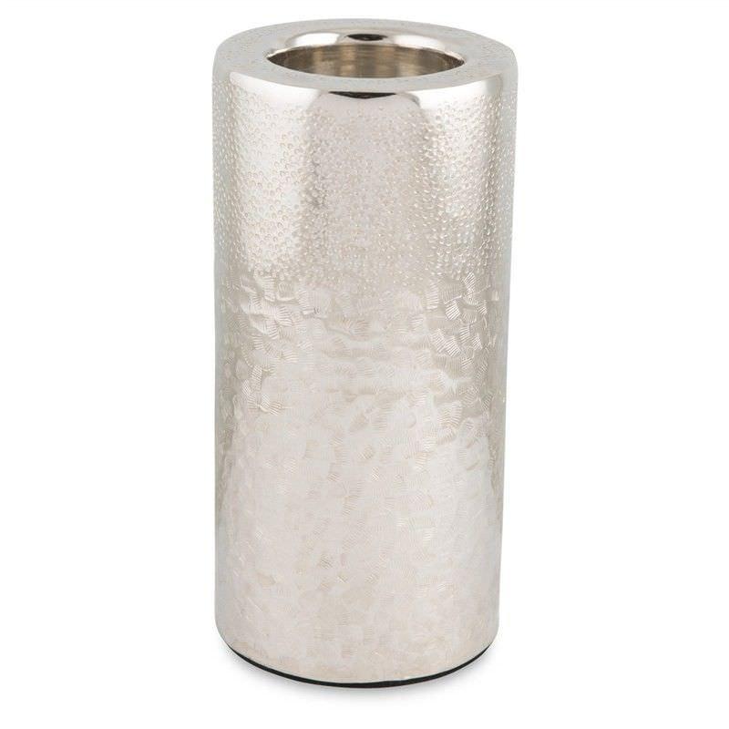 Zari Aluminium Pillar Tealight Holder, Medium, Silver