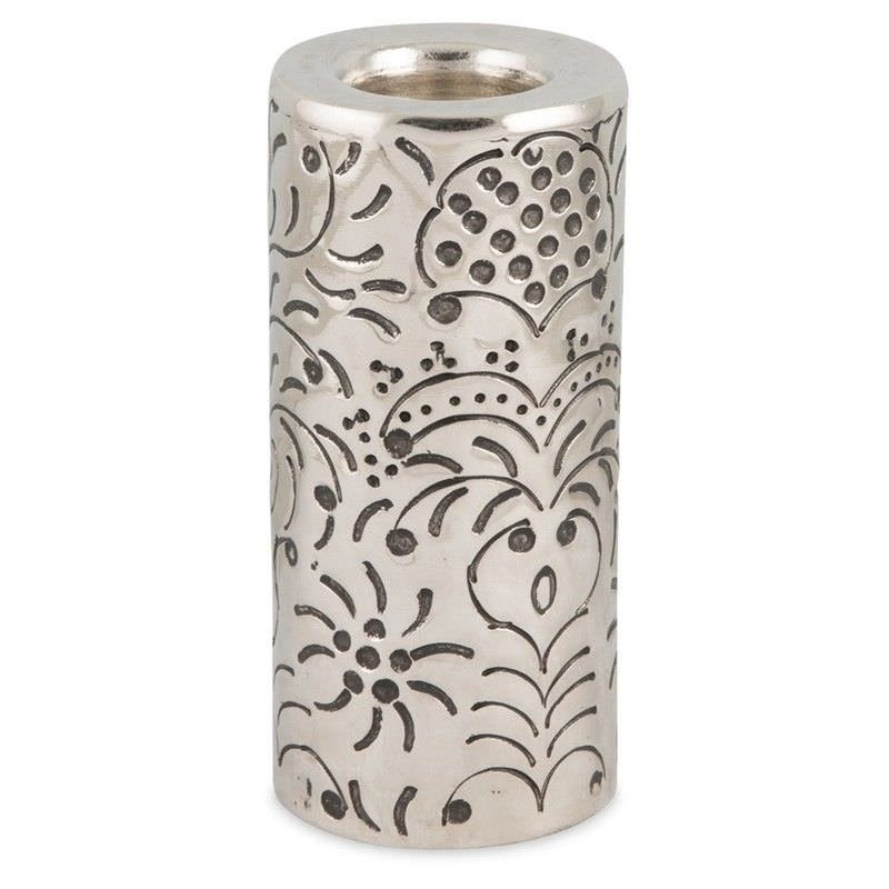 Mireille French Embossed Aluminium Round Pillar Tealight Holder, Large, Antique Silver
