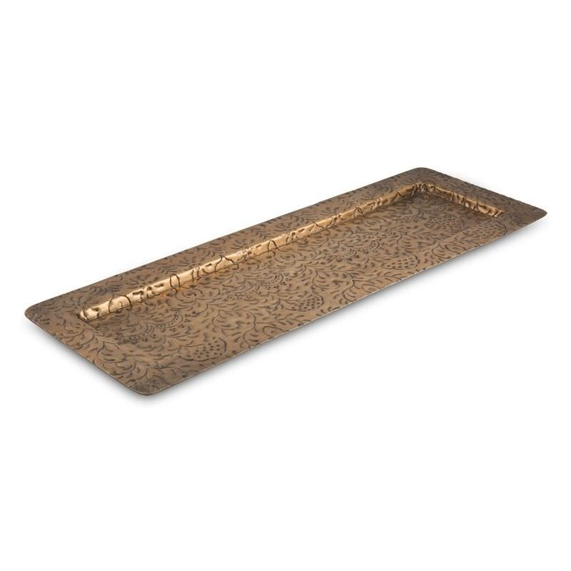 Mireille French Embossed Aluminium Long Tray, Antique Gold