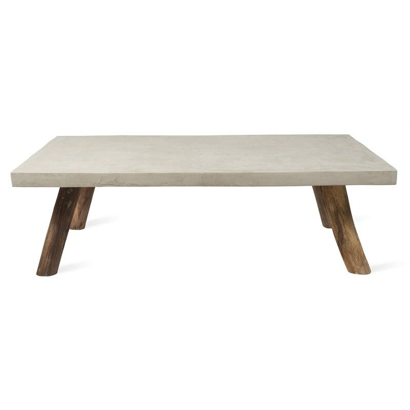 Apollo Concrete and Solid Teak Timber 120cm Coffee Table