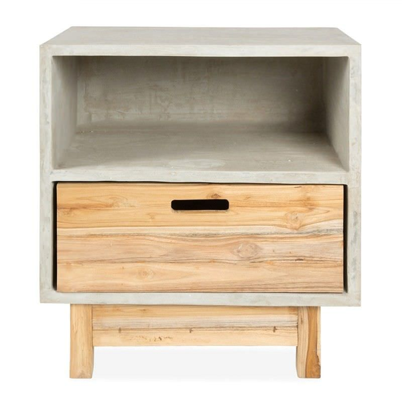 Apollo concrete and solid teak timber single drawer bedside table watchthetrailerfo
