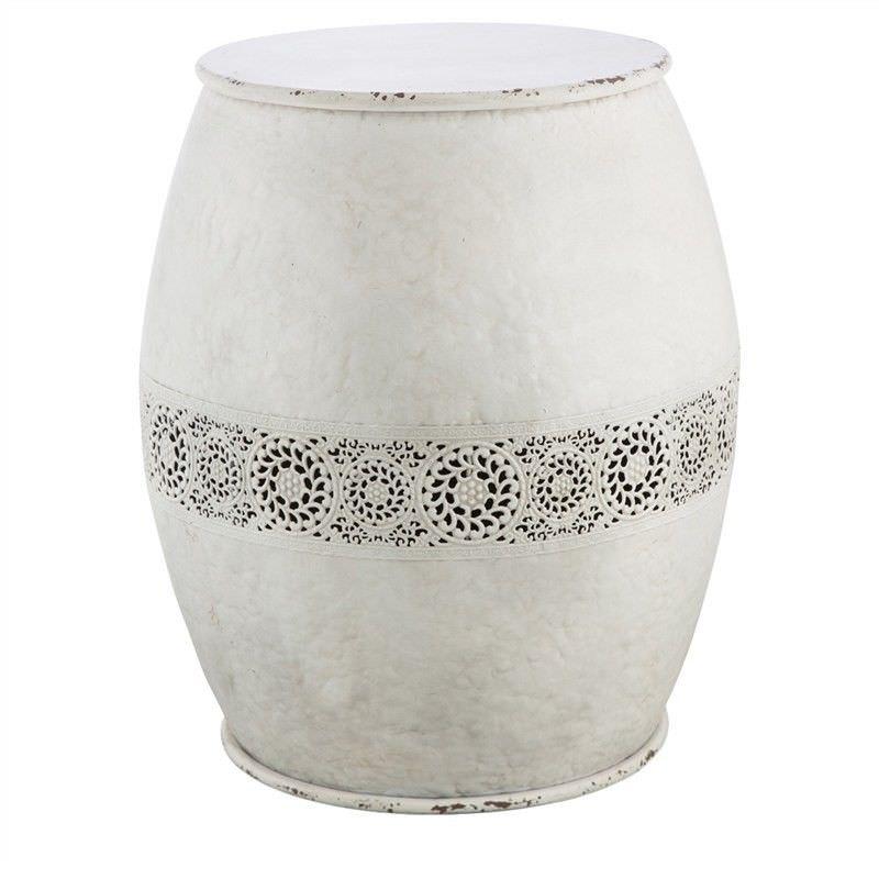 Taliyah Filagree Iron Drum Stool, Large, Distressed White