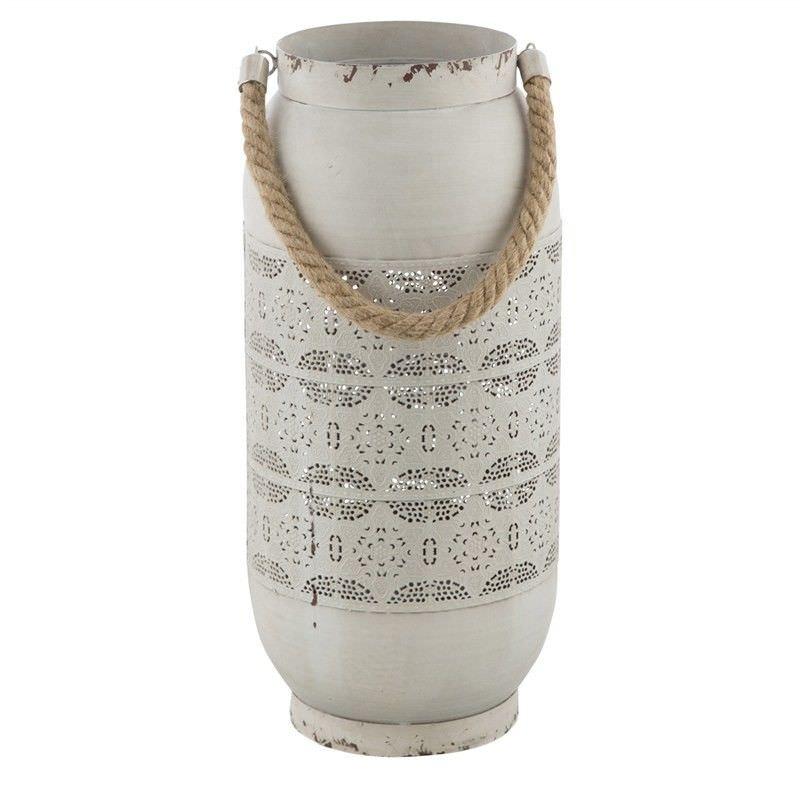 Filagree Cutout Metal Lantern - Distressed White