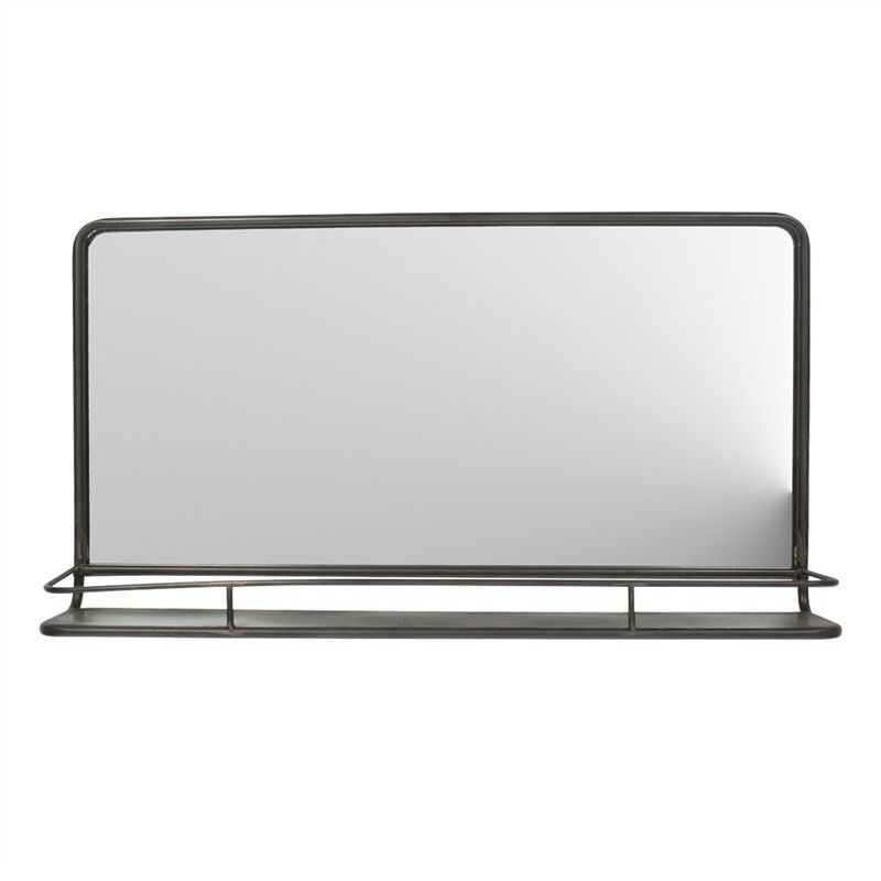 Hoover Industrial Iron Frame Wall Mirror with Shelf, 92cm, Distressed Black