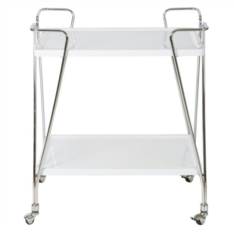 Atticus 2 Tier Drinks Trolley, Glossy White