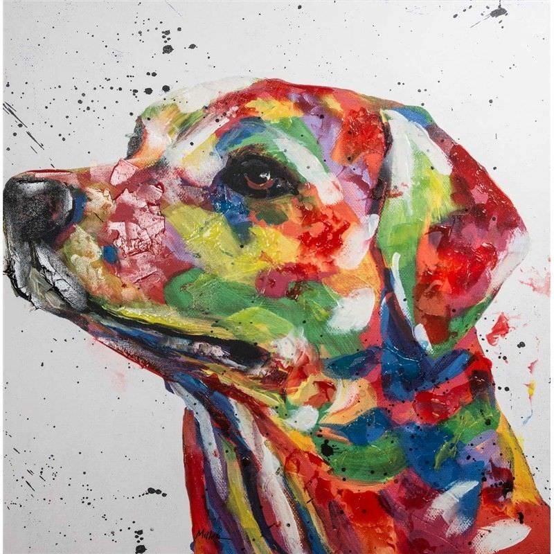 Hand Embellished Giclee Canvas Wall Art - Bright Labrador by Tracey Miller