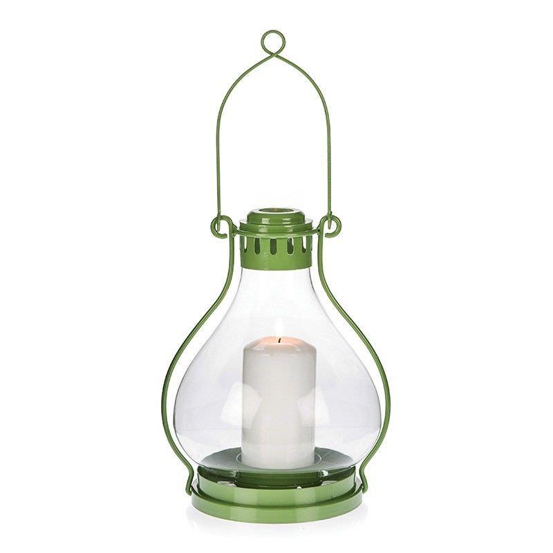 Green Large Glass Miners Lantern - 27.5cm