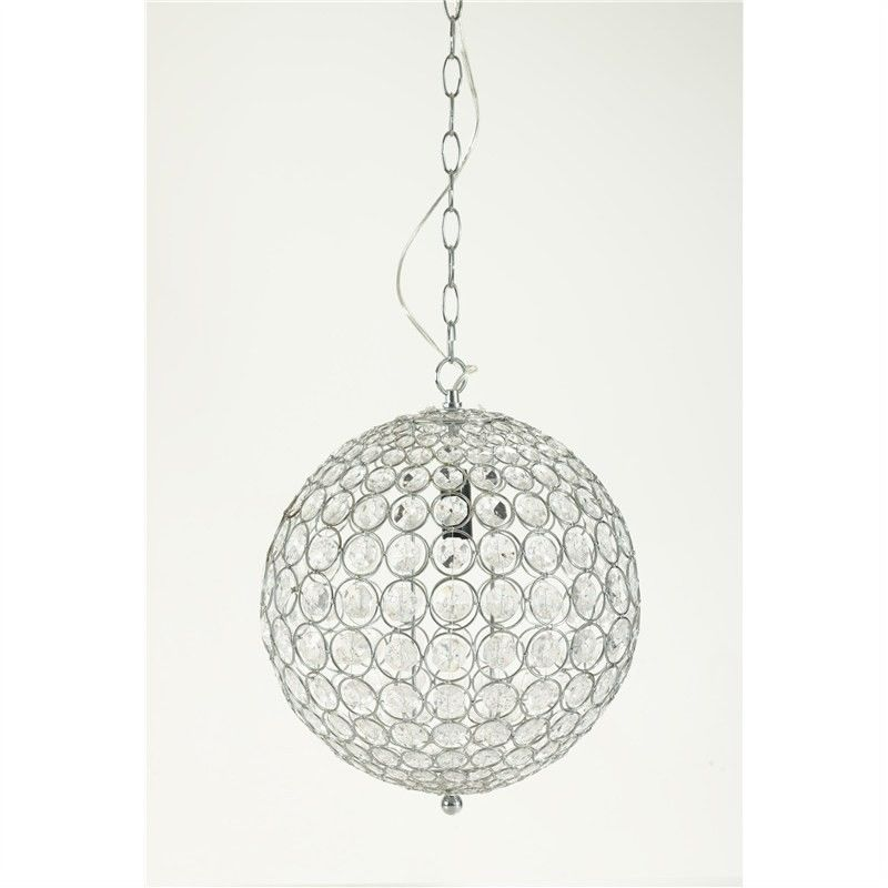 Clear Beaded Pendent Light - 25cm