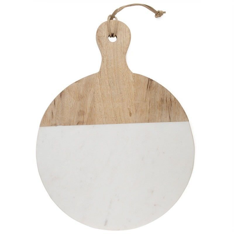 Macnevin Small Solid Mango Wood Timber and Stone Round Serving Board with Handle - White/Natural