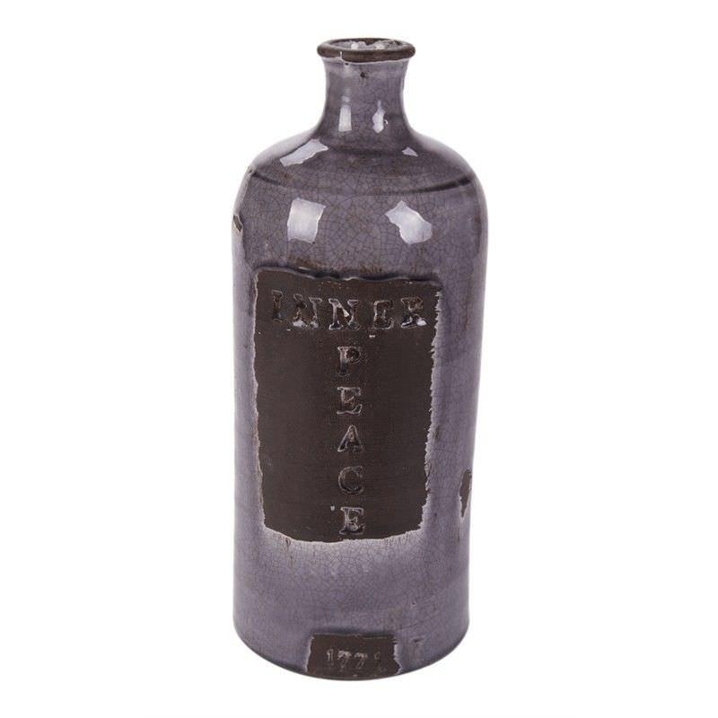 Terracotta Ornatmental Bottle - Grey