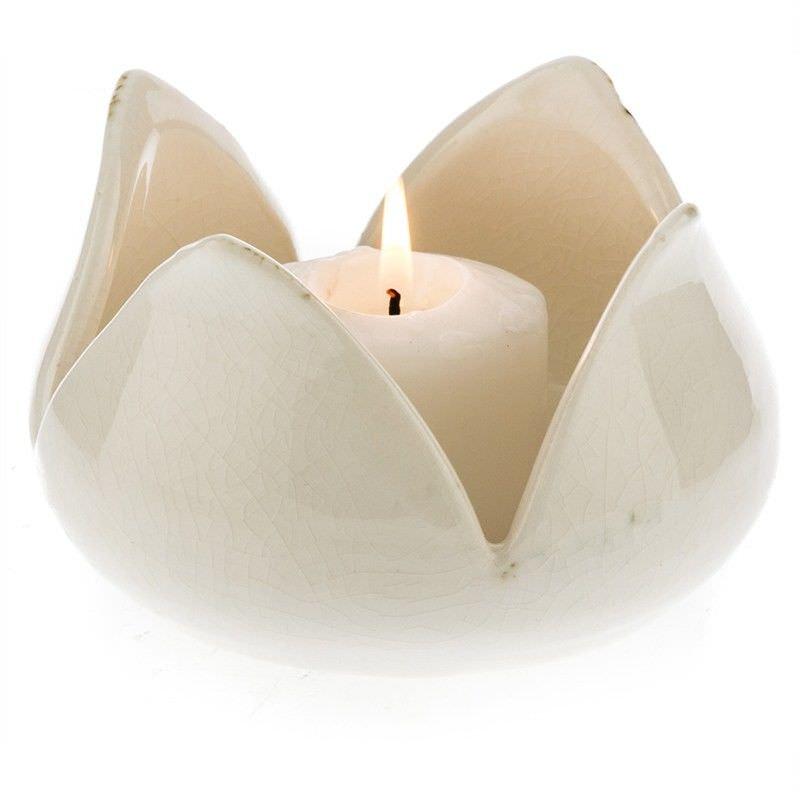 Elati Bud Motif Ceramic Candle Holder, White