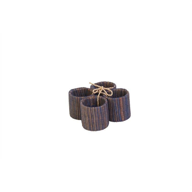 Jakarta Water Hyacinth Napkin Rings S-4 - Navy D:4cm