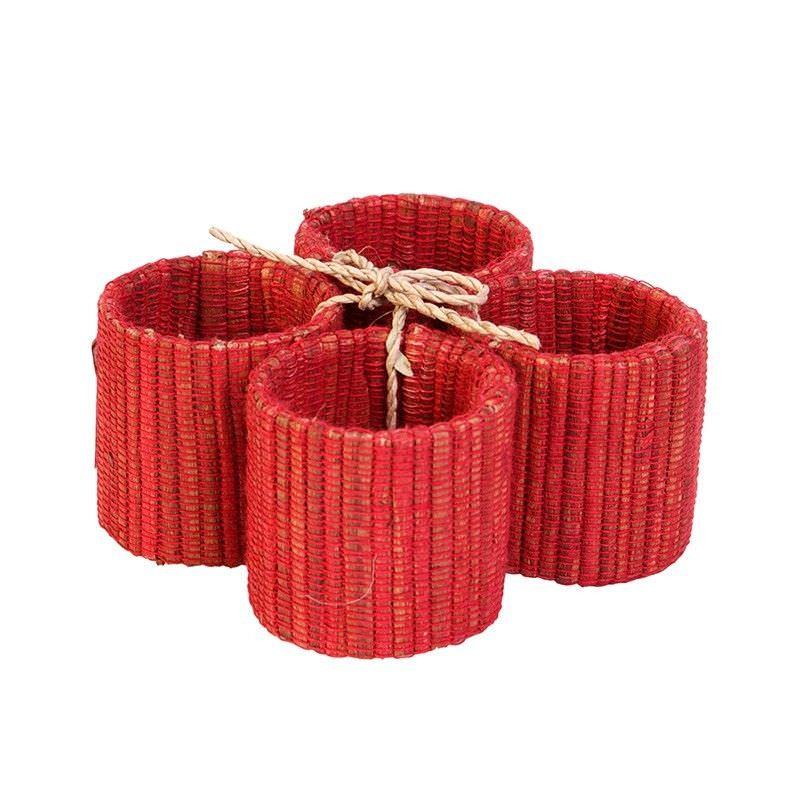 Set of 4 Jakarta Red Napkin Rings - 4cm