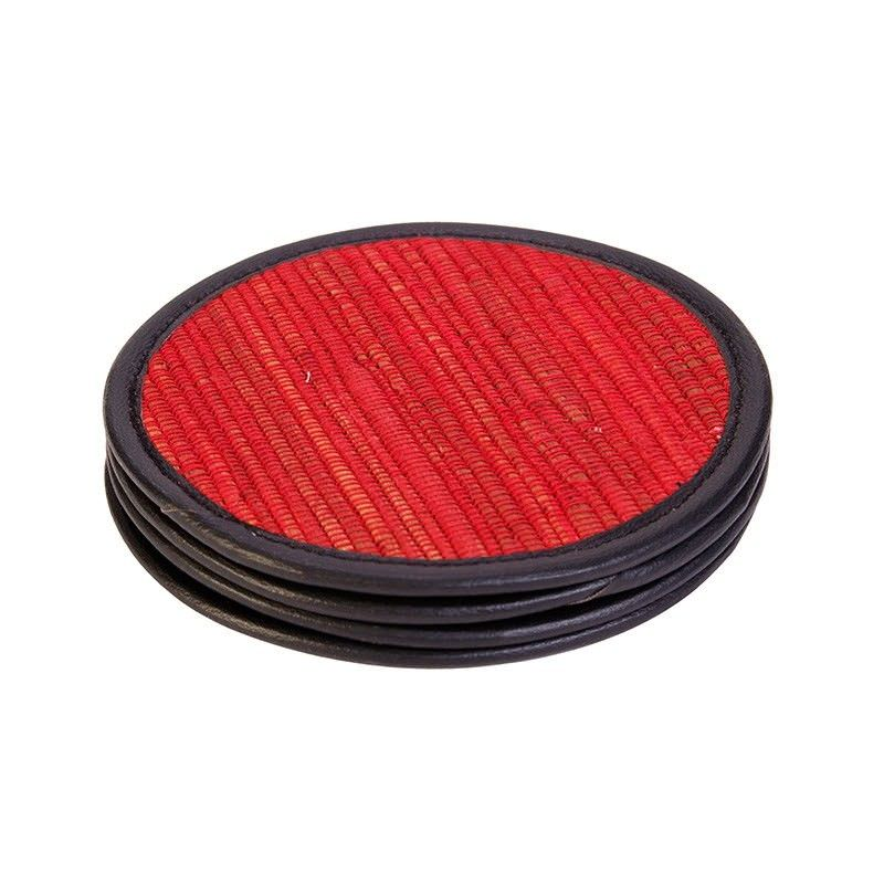 Set of 4 Jakarta Red Coasters- 10cm