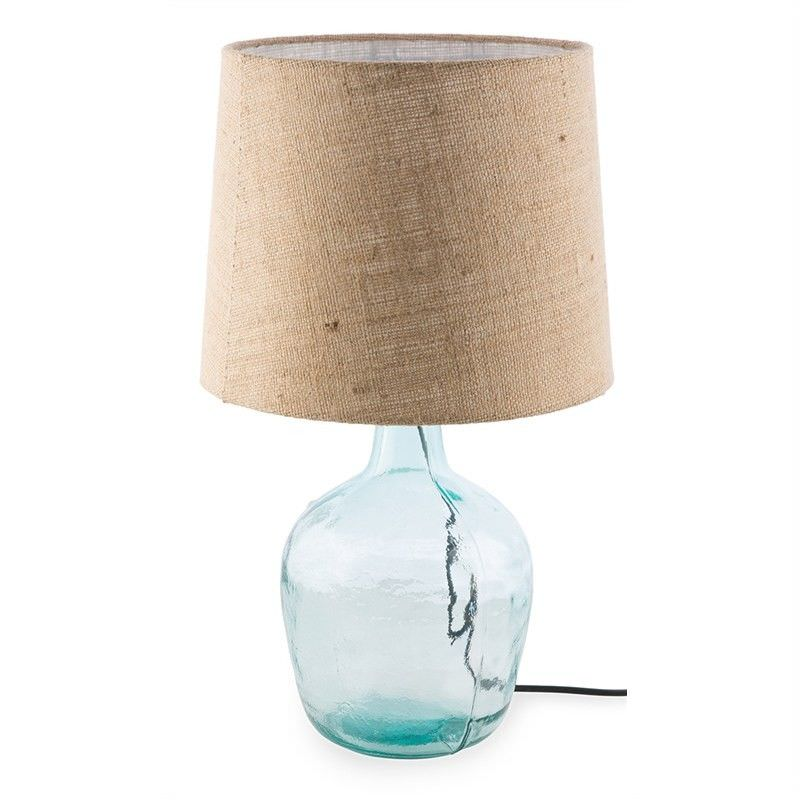 Talia Glass Table Lamp with Jute Shade - Clear