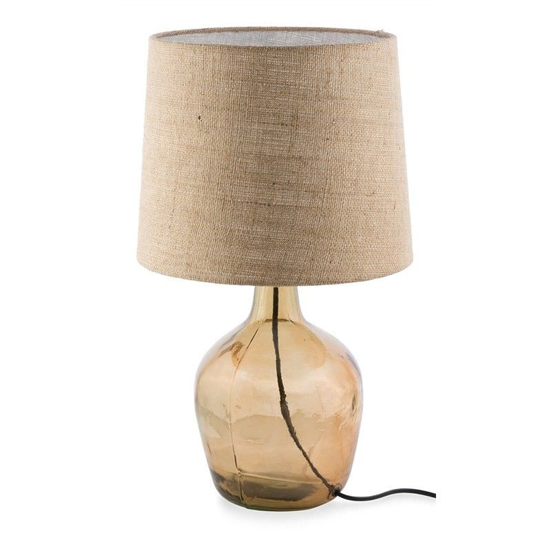 Talia Glass Table Lamp with Jute Shade - Amber
