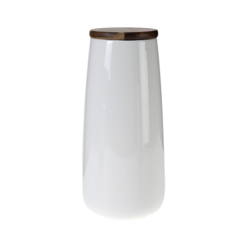 White Pot with Wood Lid - 30cm
