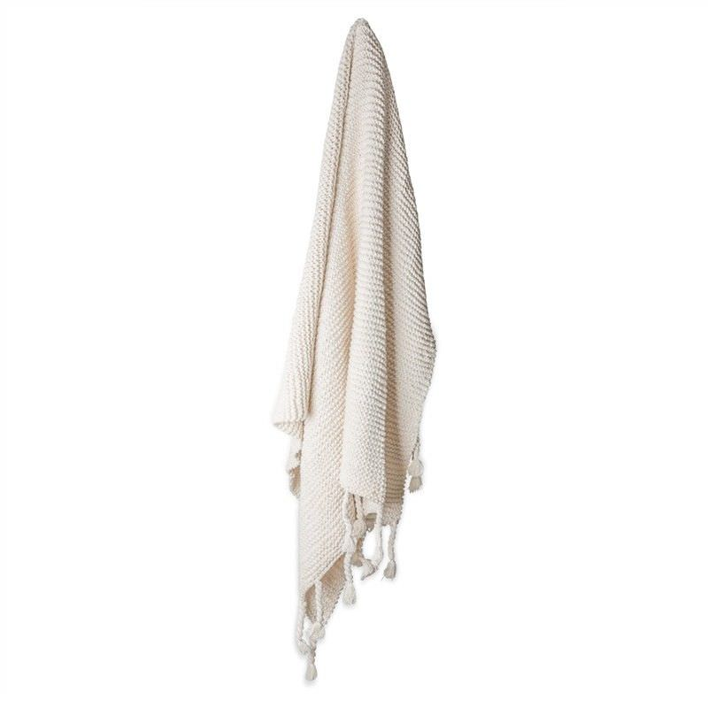 Bolton Hand Knitted Cotton Throw with Tassels - Beige