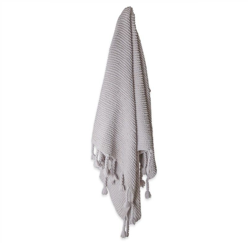 Bolton Hand Knitted Cotton Throw with Tassels - Grey