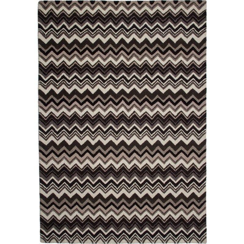Hamilton Zig Zag Hand Tufted Wool Rug in Brown - 340x240cm