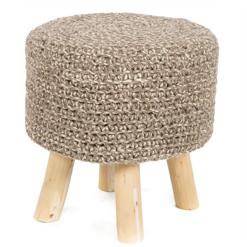 Montana Hand Knitted Wool & Timber Stool, Brown