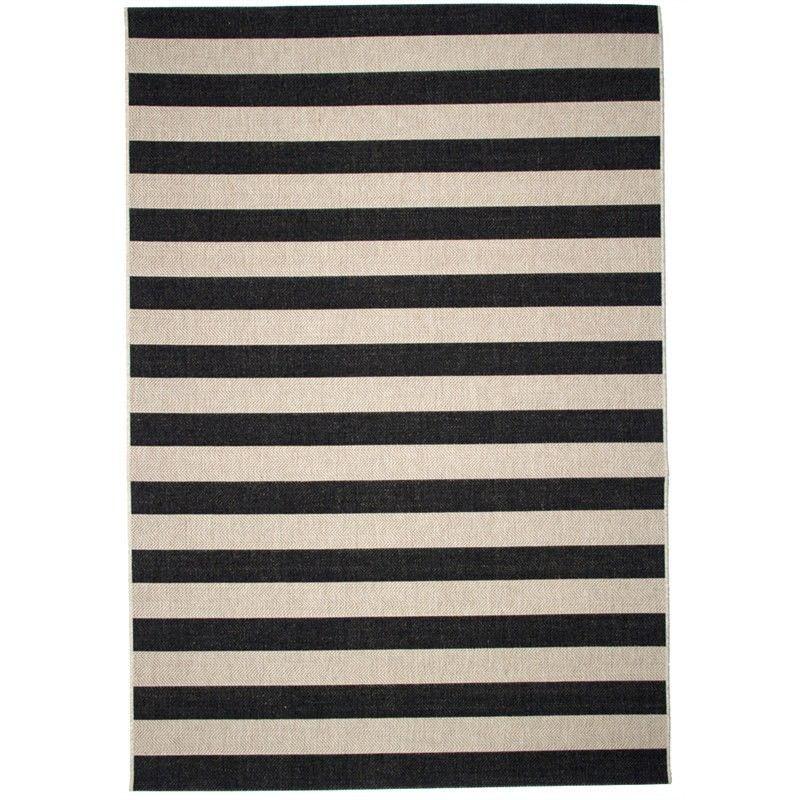 St Tropez Stripe 200x290cm Indoor/Outdoor Rug - Black/Beige