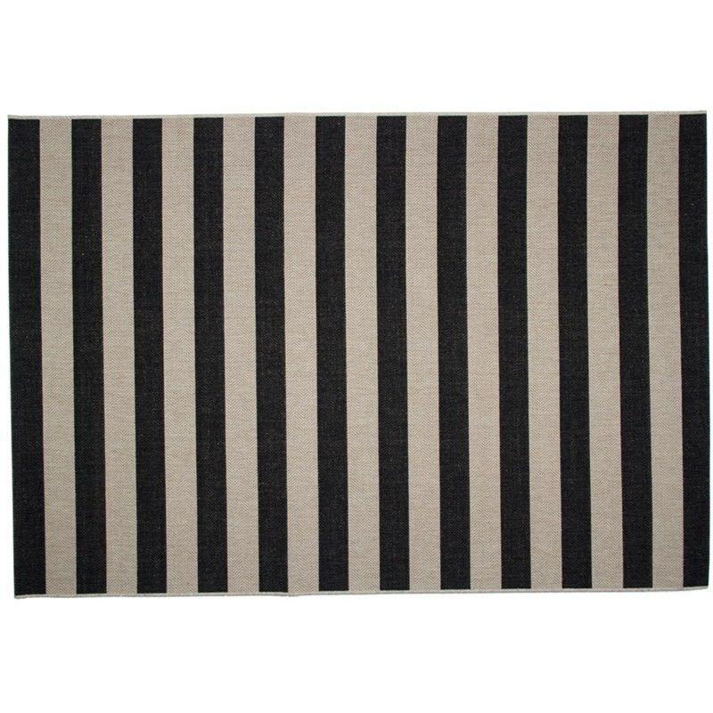 St Tropez Rug Stripe Design 5031 in Black - 330cm