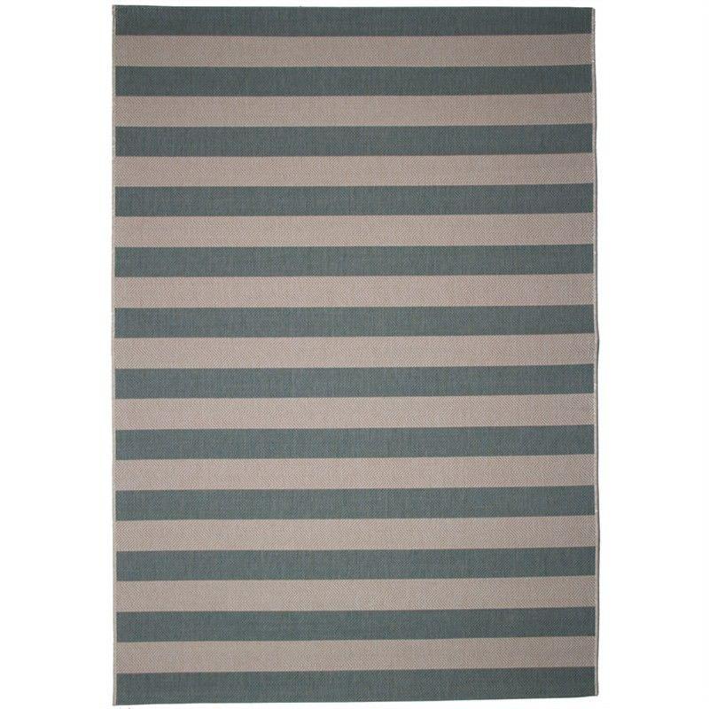 St Tropez Stripe 160x230cm Indoor/Outdoor Rug - Teal/Beige