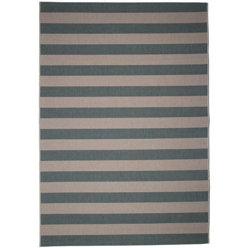 St Tropez Stripe 200x290cm Indoor/Outdoor Rug - Teal/Beige
