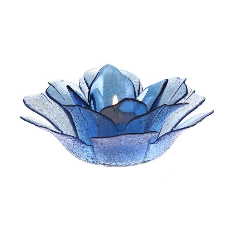 Glass Flower T-Lite Hlder-Blue