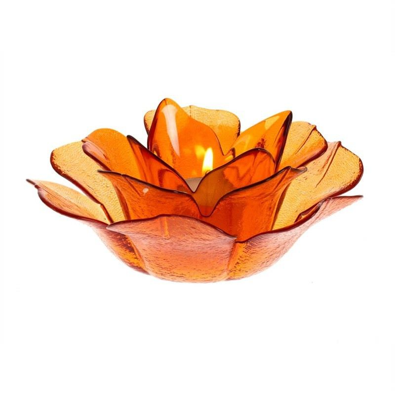 Glass Flower T-Lite Hldr-Amber
