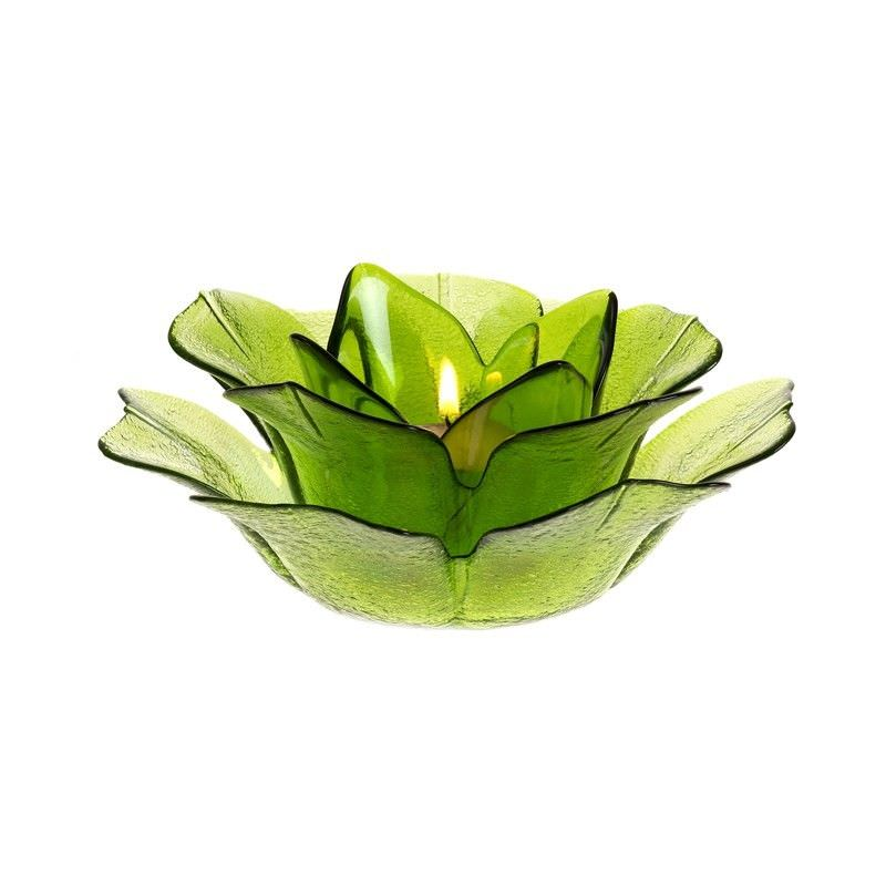 Glass Flower T-Lite Hldr-Green