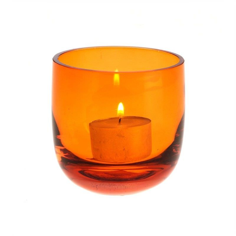 Glass Tea Light Holder - Amber