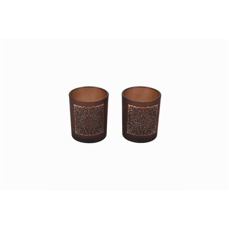 Set of 2 Frost Tealight Holders in Brown