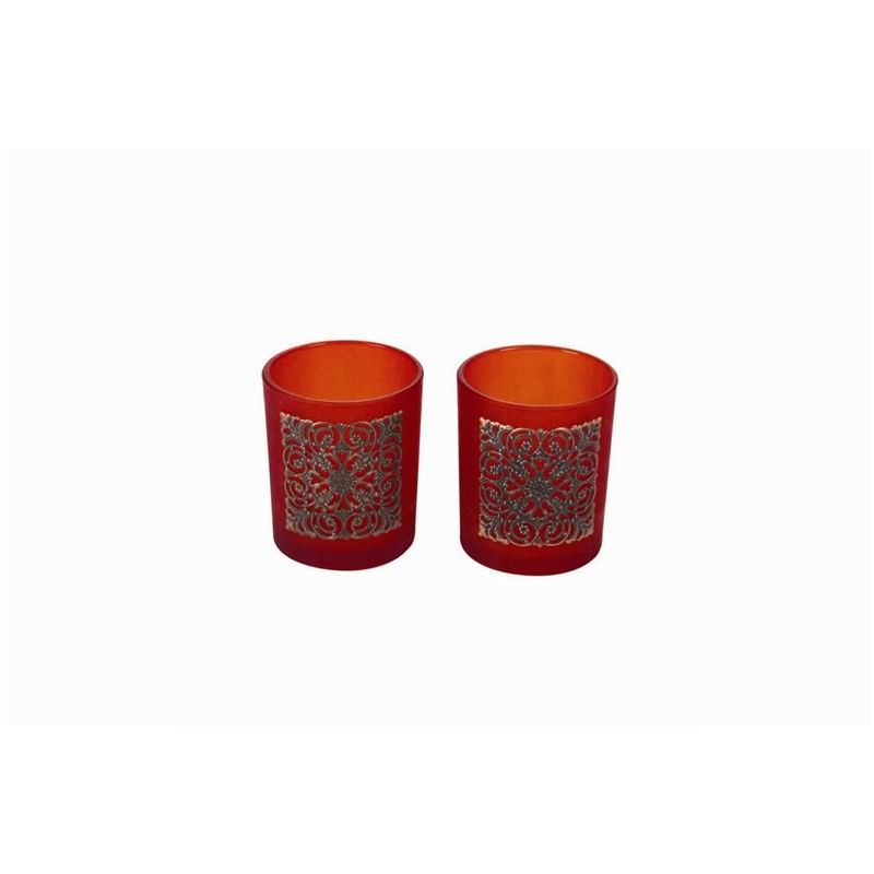Set of 2 Frost Tealight Holders in Red