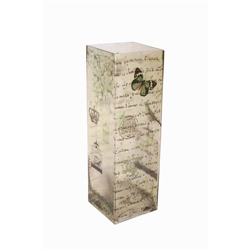 Bird/Butterfly Glass Vase - 10x10x30cm