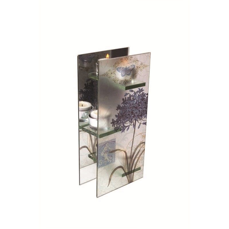 Blue Flower Glass T-Lite Holder - Triple Vertical - 12x6.5x27cm