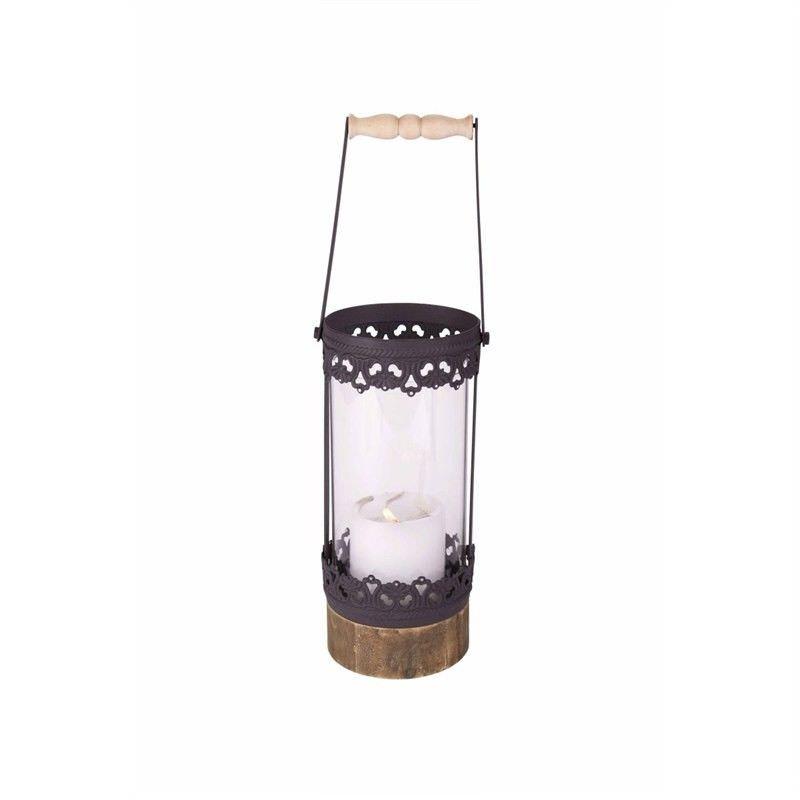 Black Metal Lantern with  Wooden Base - 12x10.5x24.5cm