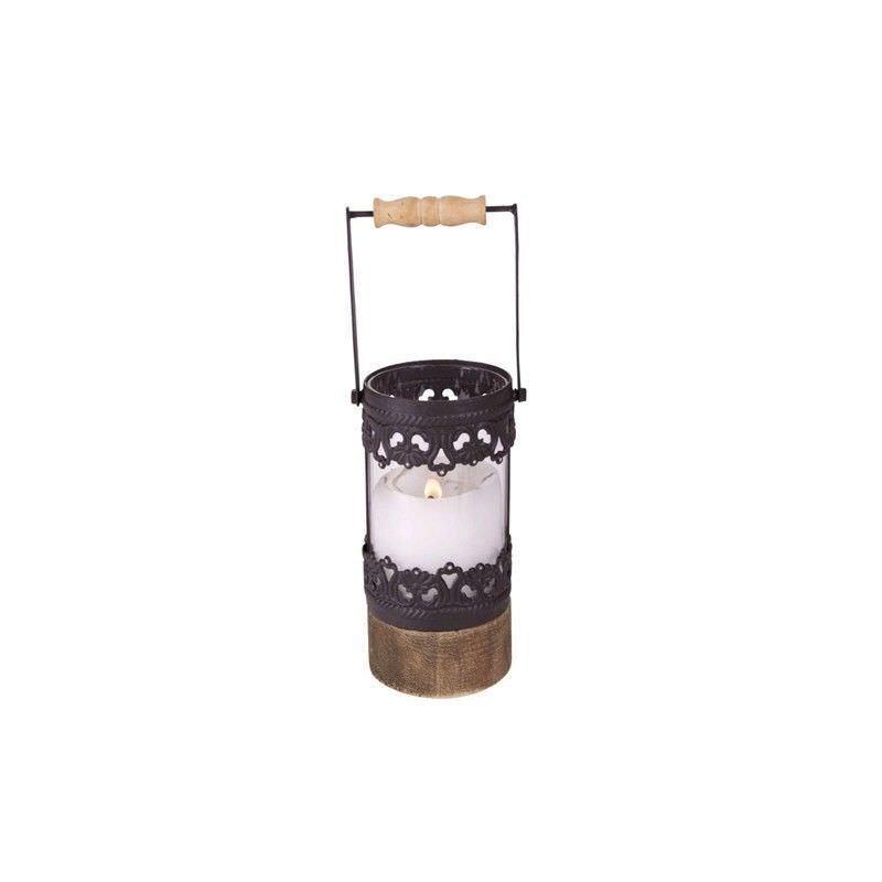 Black Metal Lantern with  Wooden Base - 10x8.5x16cm
