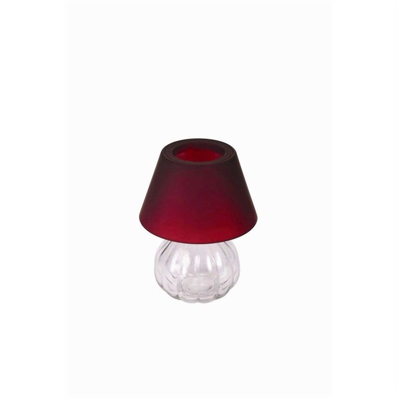 Glass Tea Light Holder with Frost Shade - Red
